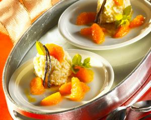 Orangenreis mit Orangenkompott