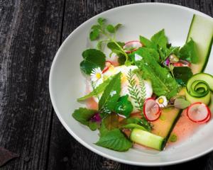 Wildkräutersalat mit pochiertem Ei