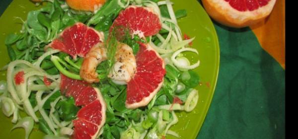 Sommerlicher Vogerl-Fenchel-Grapefruitsalat mit Riesengarnelen