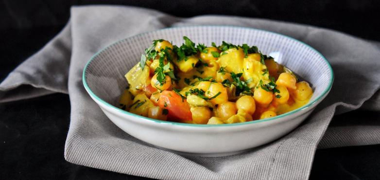 Kichererbsen mit Curry & Rupp Feinster Streich mit Gouda
