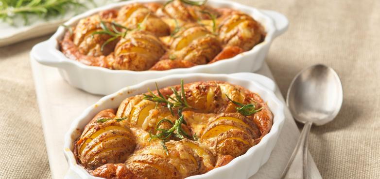 Überbackene Kartoffeln mit Tramezzini Speck-Eiaufstrich